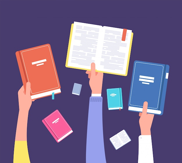 Mani in possesso di libri. biblioteca pubblica, letteratura e lettori. concetto di vettore di educazione e conoscenza Vettore Premium