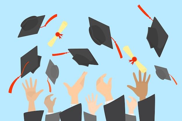 Mani che lanciano tappi di laurea e diploma nell'aria. celebrazione del diploma universitario o scolastico. illustrazione Vettore Premium