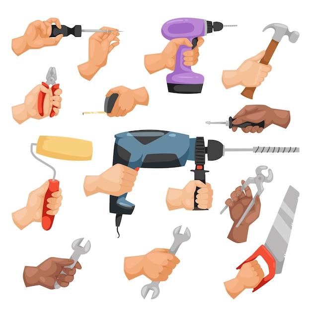 Mani con strumenti di costruzione in stile cartone animato Vettore Premium