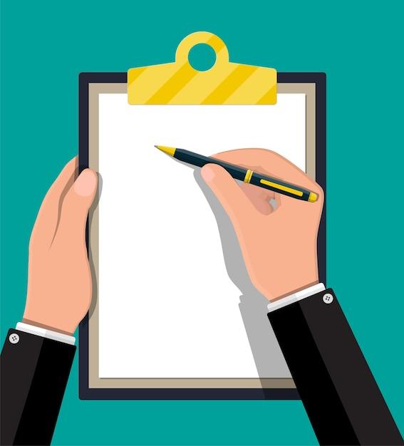 Mani con la penna che tiene appunti con foglio di carta vuoto. Vettore Premium
