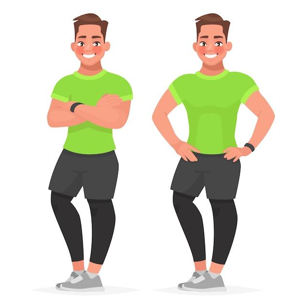 Bel ragazzo in abiti sportivi è in piedi in diverse pose. Vettore Premium
