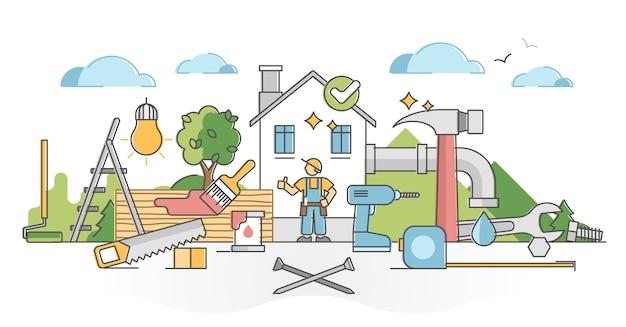 Occupazione tuttofare con il concetto di struttura di costruzione, riparazione e manutenzione. lavora con la costruzione per riparare l'elettricità, l'impianto idraulico e come illustrazione del falegname. lavoro meccanico di servizio artigiano. Vettore Premium