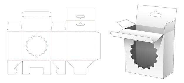 Confezione da appendere con sagoma fustellata per finestra a stella a più punte Vettore Premium