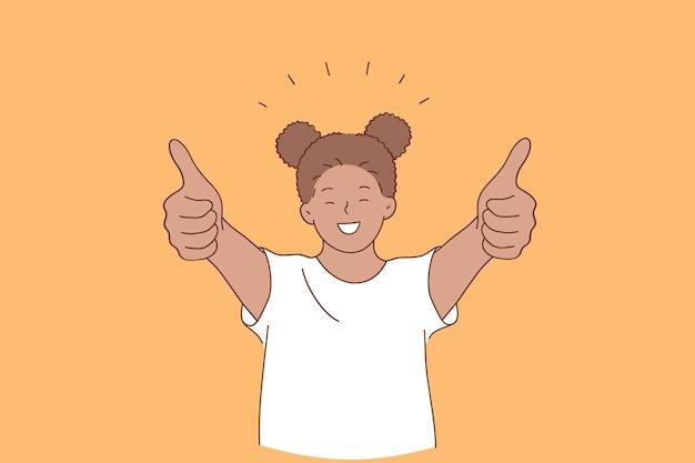 Felicità, infanzia felice, concetto di emozione positiva Vettore Premium