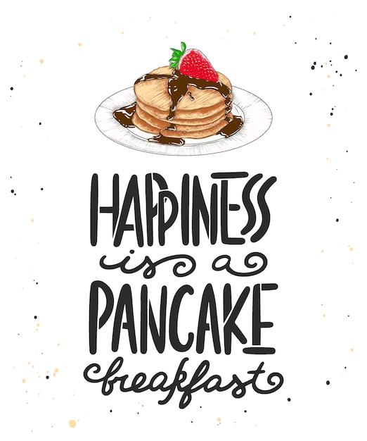 La felicità è una colazione a base di frittelle con schizzo Vettore Premium