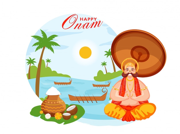 Re mahabali di felicità che fa namaste che si siede vicino al fiume con le barche di aranmula, i vasi di fango di grano e le noci di cocco sul fondo della natura del sole per la celebrazione felice di onam. Vettore Premium