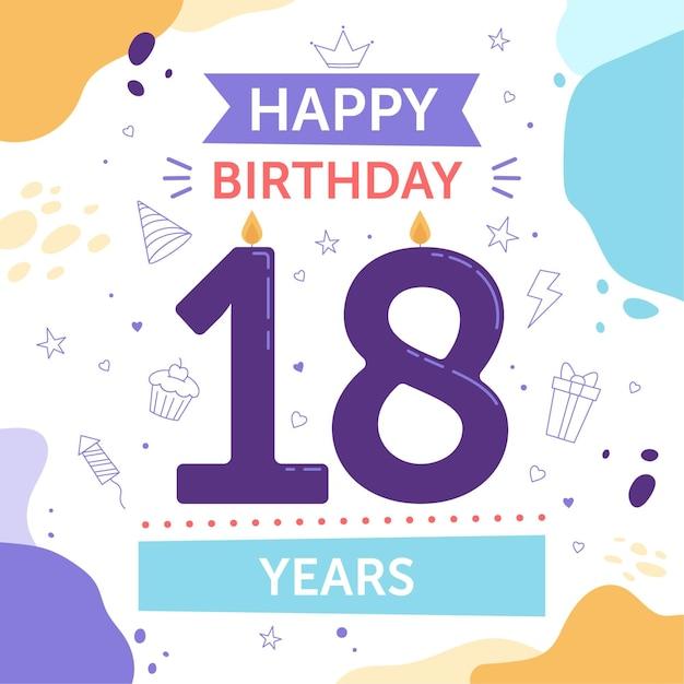 Buon 18 ° compleanno sfondo Vettore Premium