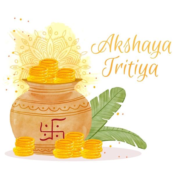 Felice akshaya tritiya monete e foglie Vettore Premium