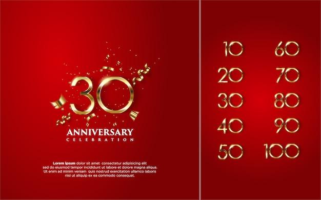 Buon anniversario in oro con diversi numeri da 10 a 100. Vettore Premium