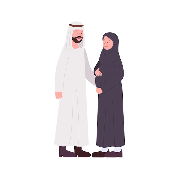 Coppie arabe felici con la moglie di gravidanza Vettore Premium