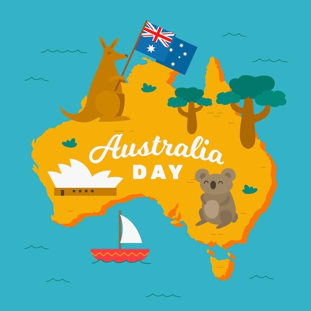 Felice giorno in australia con koala e canguri Vettore Premium