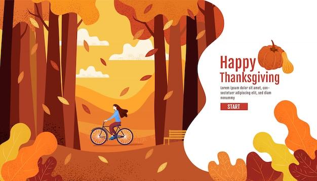 Buon autunno, ringraziamento, donne in sella a una bicicletta nel giardino autunnale. Vettore Premium