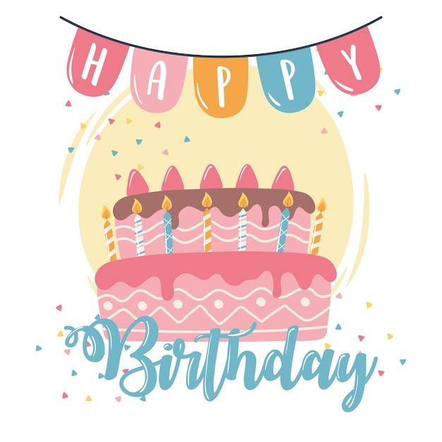 Torta di buon compleanno candele e gagliardetti celebrazione festa fumetto illustrazione Vettore Premium