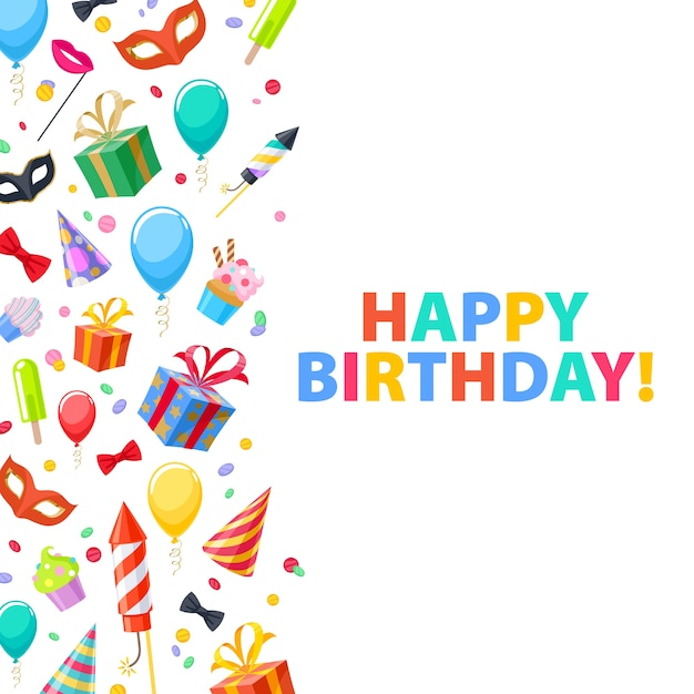 Buon compleanno - priorità bassa festiva di carnevale della festa di celebrazione. simboli colorati: cappello, maschera, regali, palloncini, fuochi d'artificio. invito o biglietto di auguri. Vettore Premium