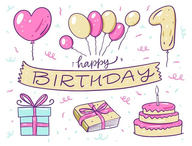 Insieme di elementi di buon compleanno. palloncini, torta, libro e confezione regalo. in stile cartone animato. isolato su sfondo bianco. design per banner, poster e web. Vettore Premium