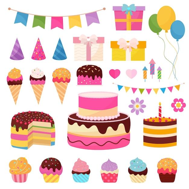 Elementi di buon compleanno con simboli colorati di regali, bandiere, palloncini e dolci Vettore Premium