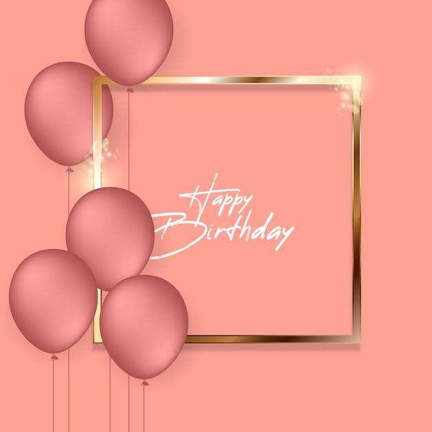 Auguri di buon compleanno con palloncini ad elio. Vettore Premium