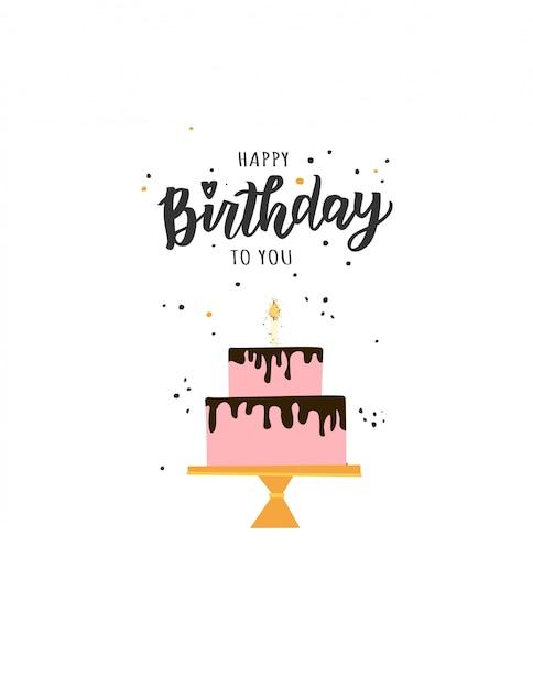Testo di scritte a mano di buon compleanno. elementi di festa di compleanno illustrazione carina per poster, biglietto di auguri, modello di banner. Vettore Premium