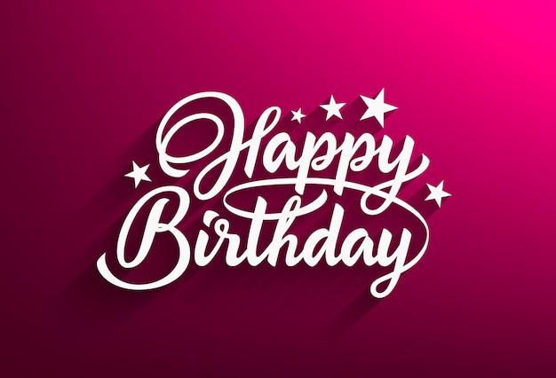 Testo scritto a mano di buon compleanno in stile lettering sfondo rosa con bella iscrizione calligrafica. illustrazione. Vettore Premium