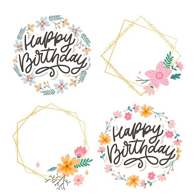 Buon compleanno lettering slogan di calligrafia Vettore Premium