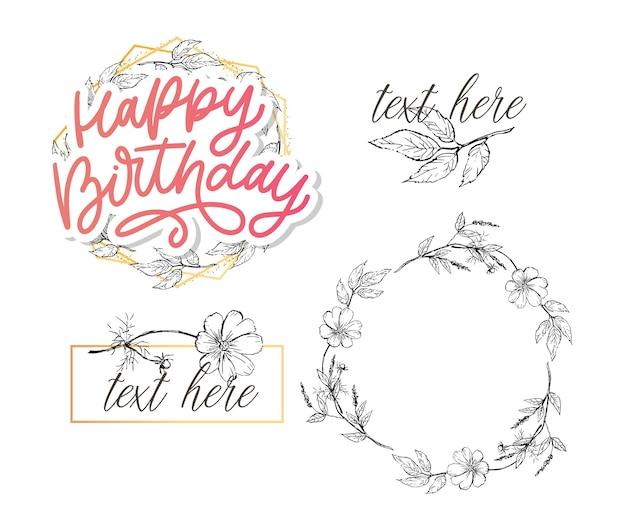 Buon compleanno lettering calligrafia con fiori Vettore Premium