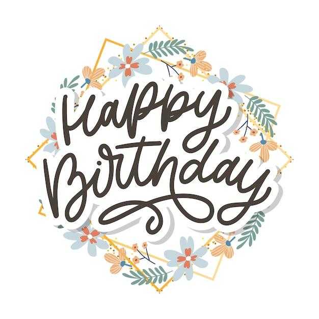 Buon compleanno lettering calligrafia Vettore Premium