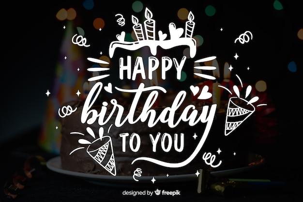 Concetto dell'iscrizione di buon compleanno con la foto Vettore Premium