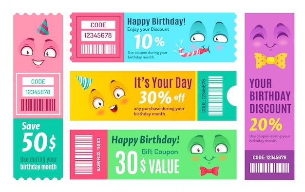Buono promozionale di buon compleanno. buono anniversario, buoni regalo felici e set di codici coupon codice promozionale sorridente Vettore Premium