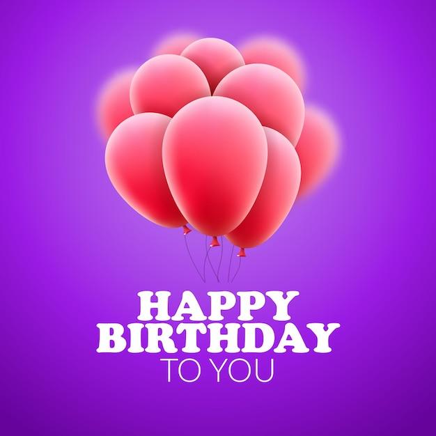 Buon compleanno con palloncini. celebrazione festa di decorazione. design festivo. Vettore Premium
