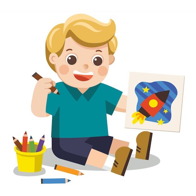 Happy boy disegnare immagini matite e vernici sul pavimento vettore isolato. Vettore Premium