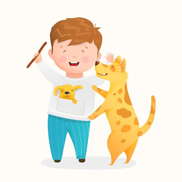 Ragazzo felice che gioca con il suo cane, il ragazzino sveglio e gli amici del cucciolo divertendosi insieme. fumetto divertente dei bambini dei caratteri del cucciolo e del bambino che ride. disegno in cartone animato stile acquerello. Vettore Premium