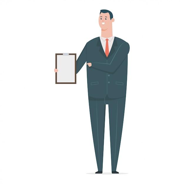 Uomo d'affari felice in vestito con appunti di carta. carattere di lavoratore di ufficio del fumetto piatto vettoriale isolato. Vettore Premium
