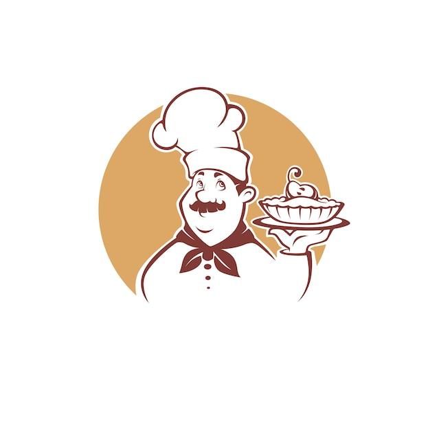 Cuoco unico felice del fumetto che tiene una torta di pere dolce, per il tuo logo di panetteria, emblema, etichetta, segno Vettore Premium