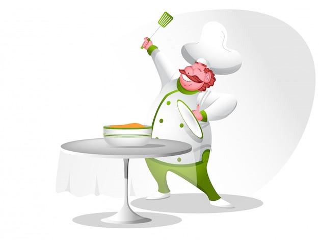 Carattere cuoco felice. Vettore Premium