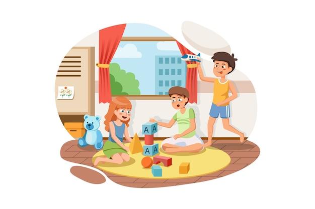 Gruppo di bambini felici che giocano insieme a blocchi di giocattoli e auto all'interno dell'aula. Vettore Premium