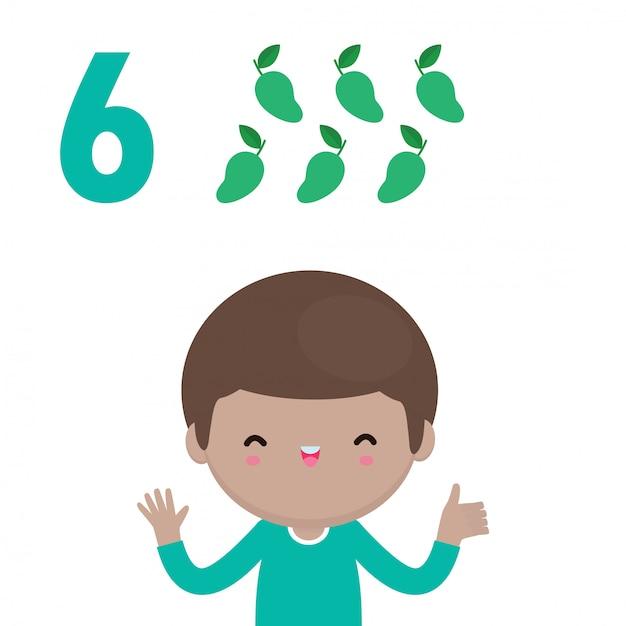 Mano di bambini felici che mostra il numero sei, bambini carini che mostrano i numeri con le dita. il numero di matematica di studio del piccolo bambino conta il concetto di istruzione della frutta, illustrazione isolata materiale di apprendimento Vettore Premium