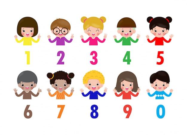 Bambini felici mano mostrando il numero zero uno due tre quattro cinque sei sette otto nove bambini che mostrano i numeri 0-9 con le dita. concetto di istruzione, bambini svegli che imparano illustrazione materiale Vettore Premium