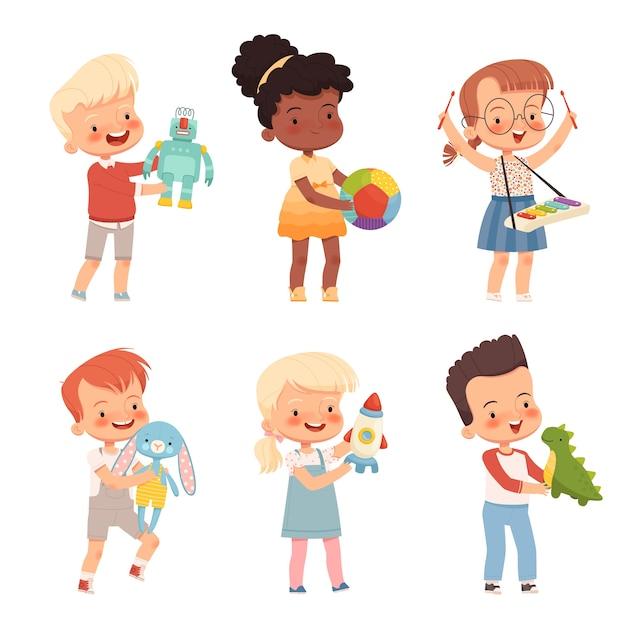 Bambini felici giocano con giocattoli diversi, li tengono in mano. Vettore Premium