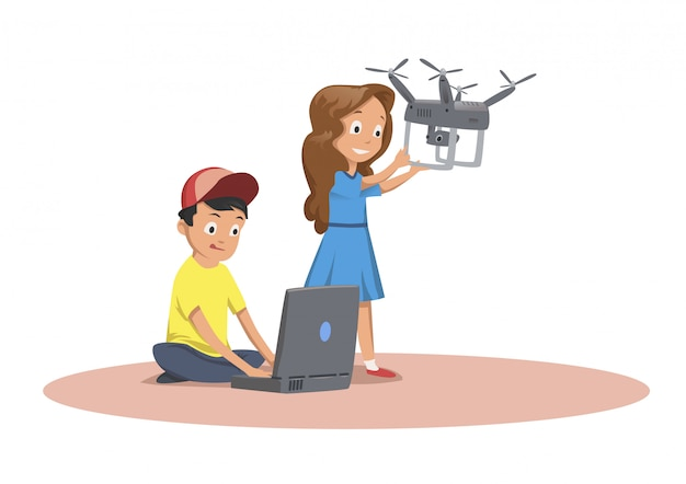Bambini felici che giocano con il drone volante. Vettore Premium