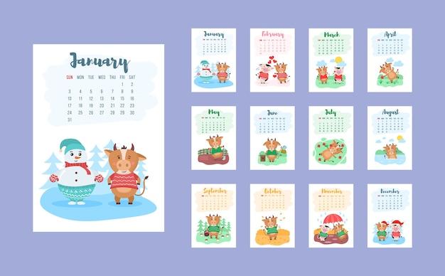 Disegno del modello di calendario cinese felice anno 2021 con mucca carina Vettore Premium
