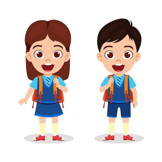 Felice carino bella scuola ragazzo e ragazza in piedi pronti per andare a scuola con espressione allegra Vettore Premium