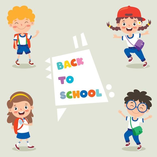 Bambini della scuola felice sveglio del fumetto Vettore Premium