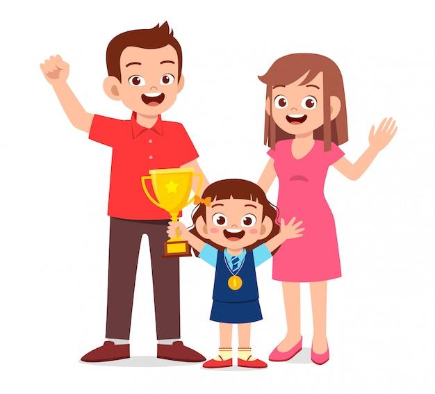 La ragazza carina felice diventa il primo vincitore Vettore Premium
