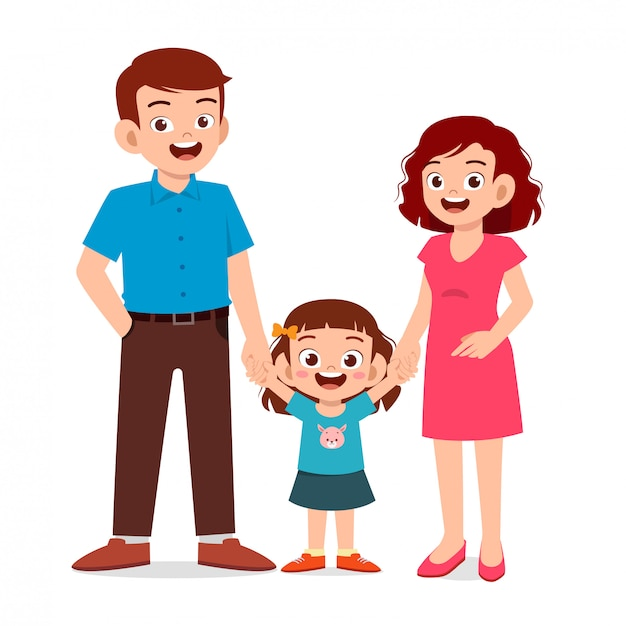 Ragazza felice bambino carino con mamma e papà Vettore Premium