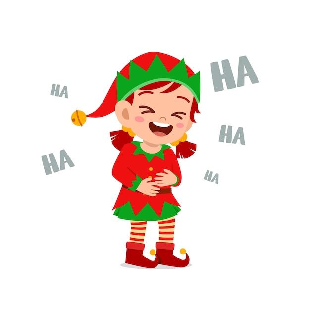Felice carino ragazzino ragazzo e ragazza che indossa il costume di natale elfo verde e ridere forte Vettore Premium