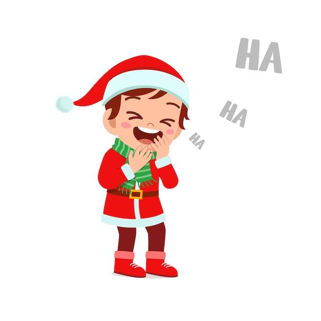Felice carino ragazzino ragazzo e ragazza che indossa il costume rosso di natale e ridono forte Vettore Premium