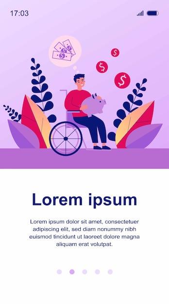 Felice uomo disabile risparmio di denaro illustrazione Vettore Premium