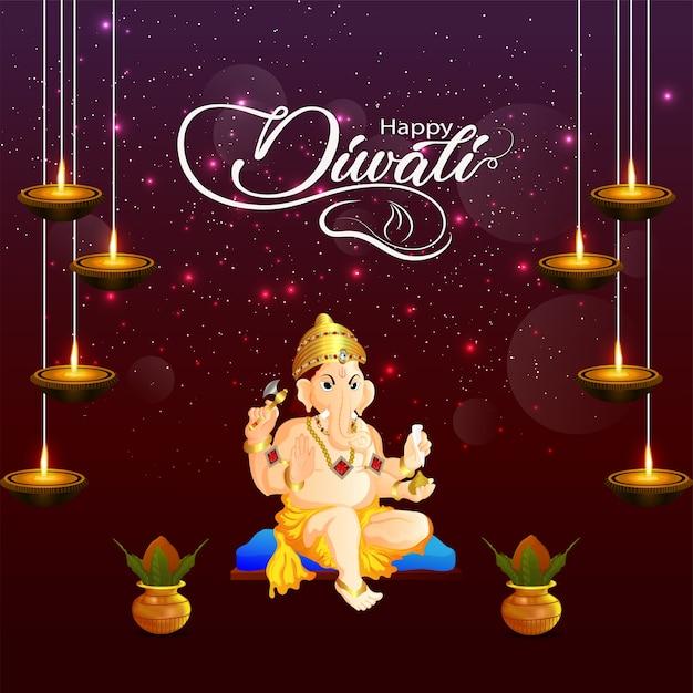 Felice diwali il festival dell'india con lord ganesha e creative kalash. Vettore Premium