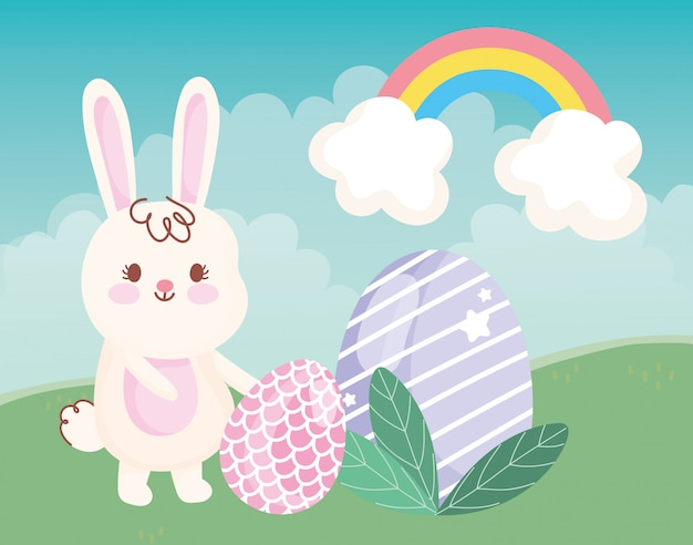 """ Il logo della settimana "" 2nd sessione Happy-easter-day-rabbit-with-eggs-leaves-grass-rainbow-decoration-illustration_24640-60527"