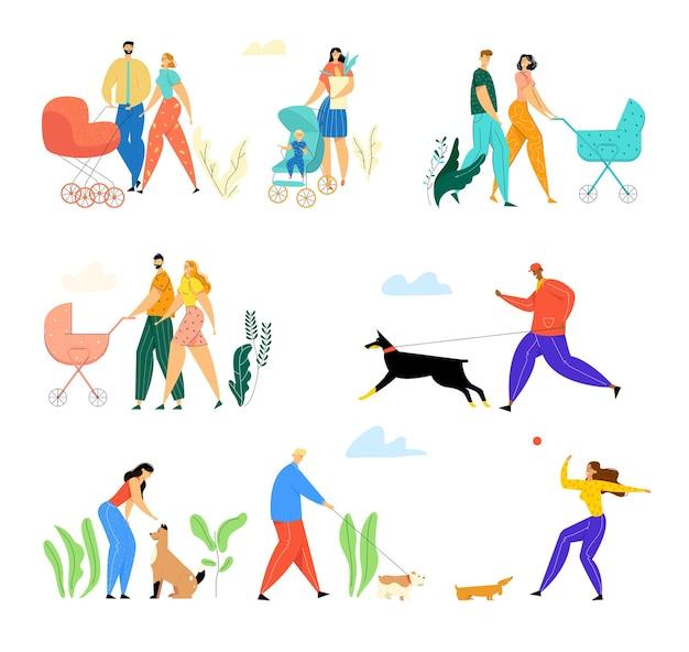 Famiglie felici con bambini piccoli e proprietari con animali domestici che camminano all'aperto sulla strada. Vettore Premium